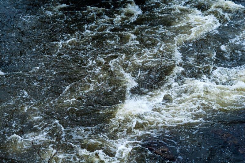 Fondo, vista superiore, flusso rapido del fiume con acqua blu scuro ed onde bianche della schiuma immagine stock libera da diritti