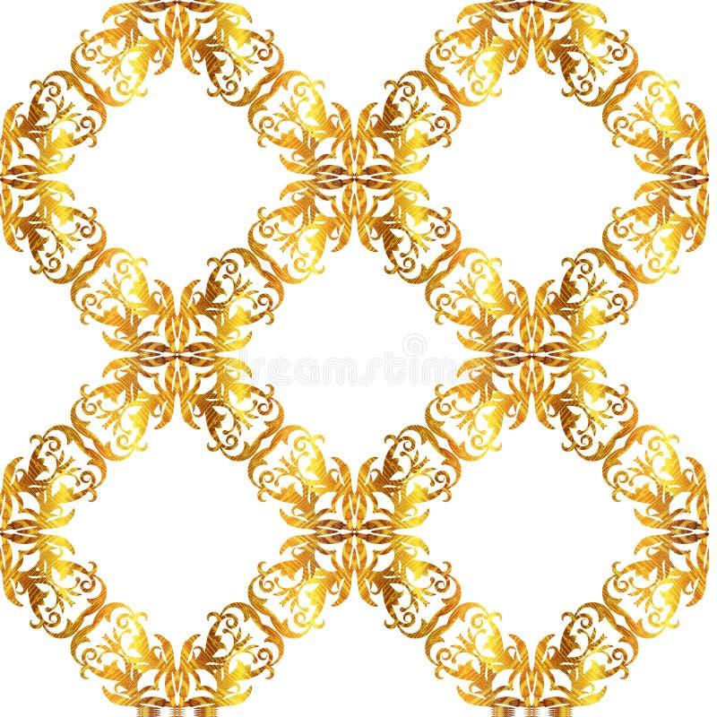 Fondo vittoriano dell'oro di vettore senza cuciture Barocco della carta da parati floreale o modello del damasco illustrazione vettoriale