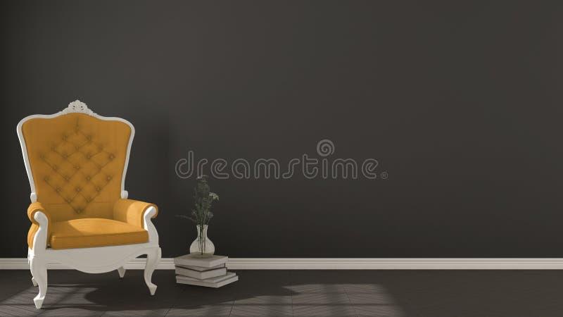 Fondo vivente scuro classico, con l'annata bianca e gialla AR royalty illustrazione gratis