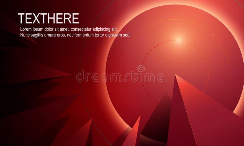 Fondo vivo rosso luminoso astratto 3d con la linea moderna Vecto fotografie stock