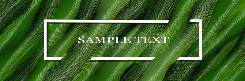 Fondo volumétrico, del vector, del verde 3d con el texto y hojas en el estilo del realismo Gr?ficos de vector stock de ilustración