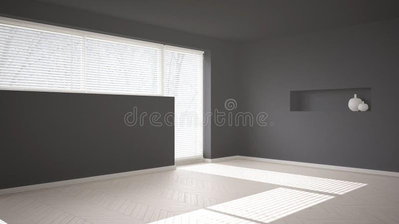 Fondo vuoto della stanza con il parquet di spina di pesce e la grande finestra con il DES interno di architettura moderna venezia royalty illustrazione gratis