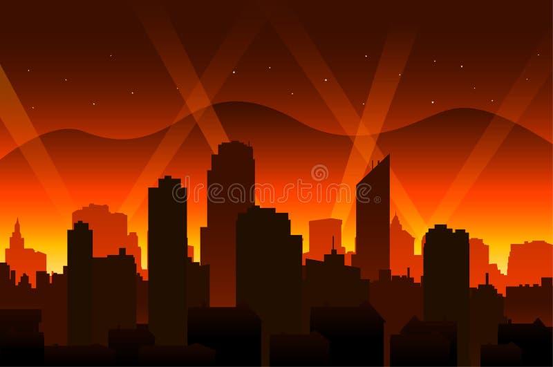 Fondo y ciudad de la alfombra roja de la película de Hollywood stock de ilustración