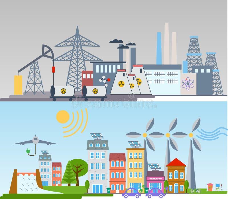 Fondo y elementos verdes del infographics de la ciudad de la ecología Energía eólica de célula solar ilustración del vector