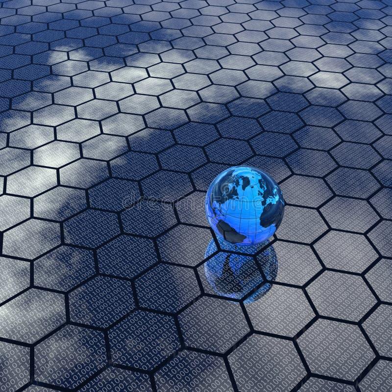 Fondo y globo hexagonales stock de ilustración