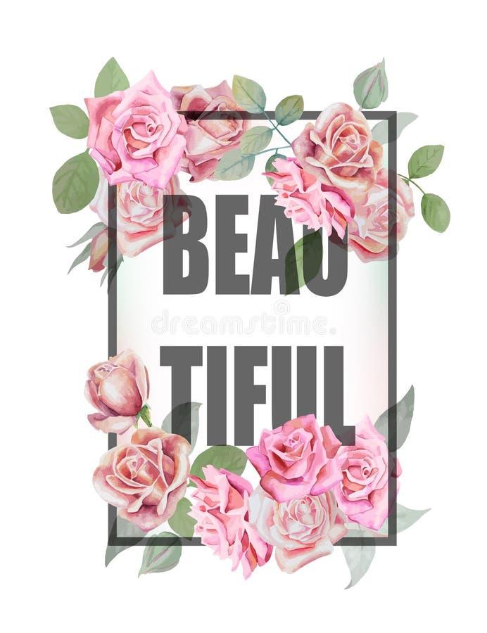 Fondo y lema de la impresión de las rosas Para el diseño u otro de la camiseta nosotros stock de ilustración