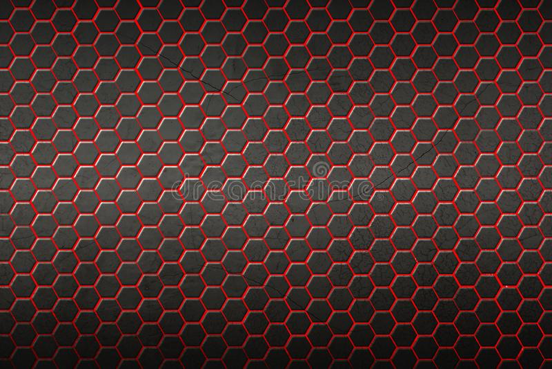 Fondo y textura rojos y negros del hexágono libre illustration