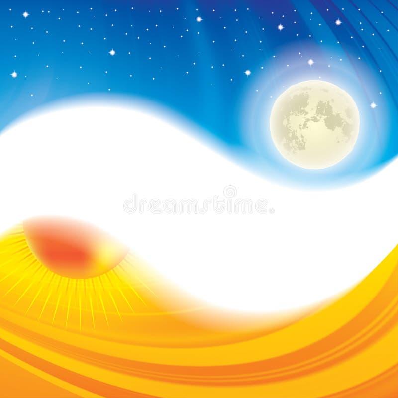 Fondo ying di concetto di yang di notte e di giorno illustrazione vettoriale