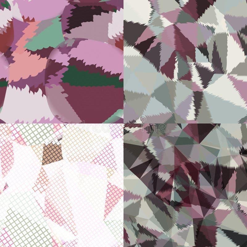 Fondos abstractos con los triángulos y las formas geométricas coloridas stock de ilustración