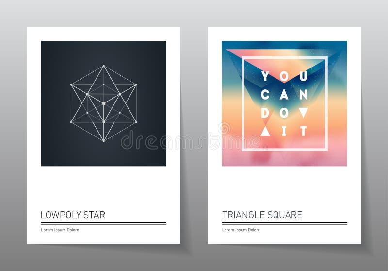 Fondos abstractos de la geometría fijados A4 fromat, plantillas del vector libre illustration