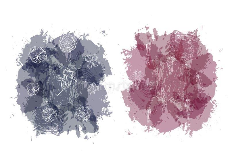 Fondos abstractos del punto de la acuarela con las plumas y las flores Fondo de la textura del chapoteo aislado en el fondo blanc libre illustration