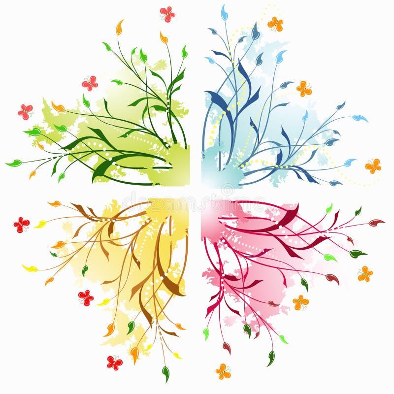 Fondos abstractos florales con la mariposa. stock de ilustración