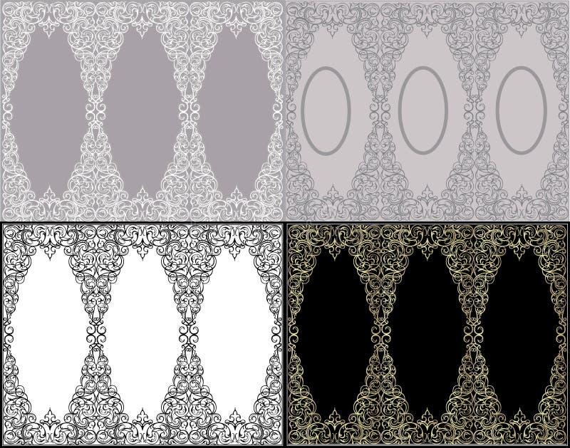 Fondos adornados fijados ilustración del vector