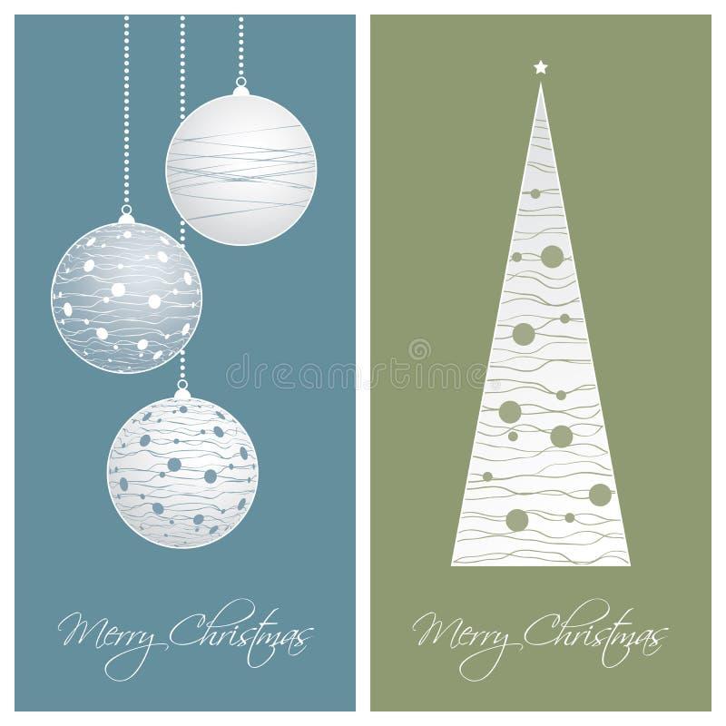 Fondos azules y verdes de tarjeta de Navidad libre illustration