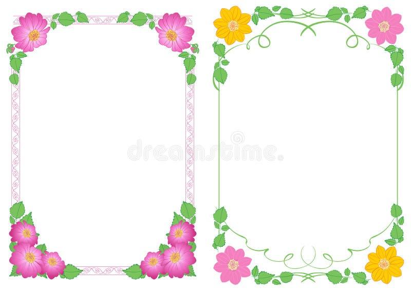 Fondos blancos A4 con las dalias de las flores en las esquinas - marcos decorativos verticales del vector libre illustration
