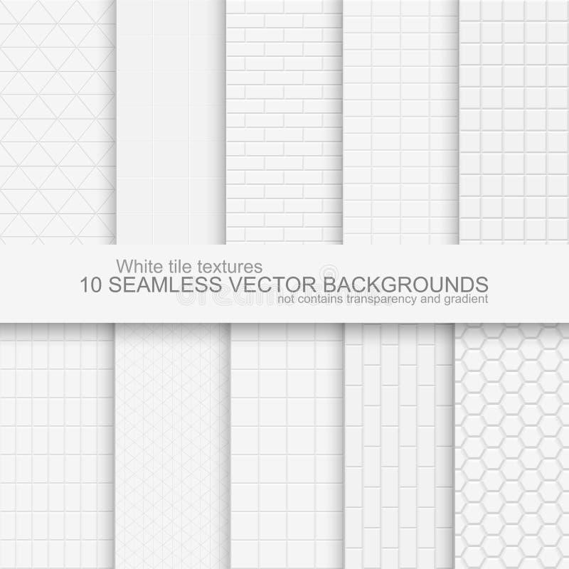 10 fondos blancos de la teja ilustración del vector