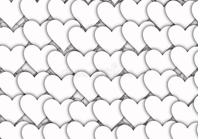 Fondos blancos de los corazones del símbolo del amor con el espacio de la copia ilustración del vector
