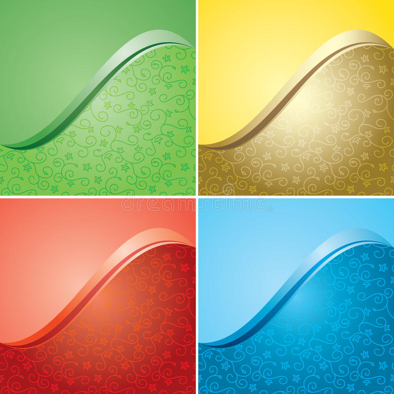Fondos brillantes del color con la textura floral - sistema ilustración del vector