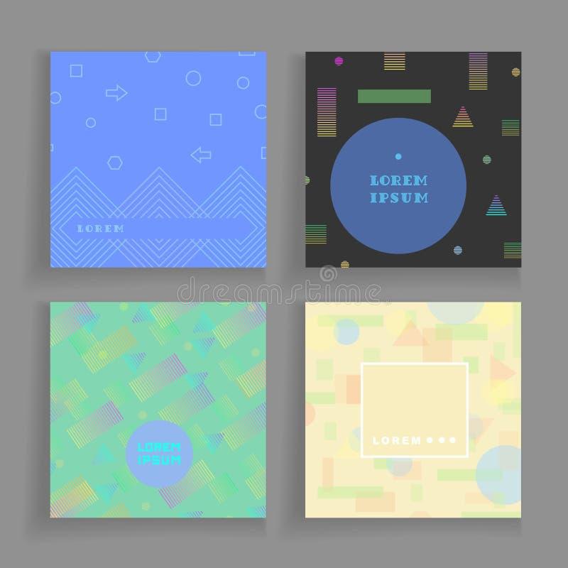 Fondos caóticos de la geometría fijados Aliste para las cubiertas, carteles, carteles, aviadores libre illustration