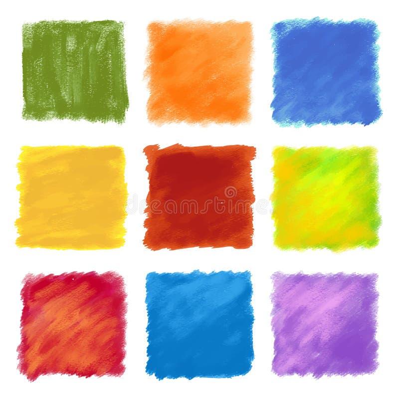 Fondos coloreados con sabor a fruta del cuadrado de la pintura ilustración del vector