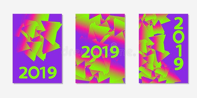 Fondos coloridos Número 2019 Plantillas para la tarjeta, bandera, cartel, aviador, cubierta stock de ilustración