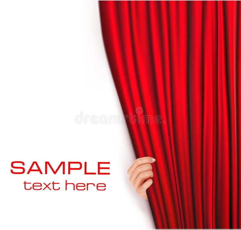 Fondos con la cortina roja del terciopelo. Vector stock de ilustración