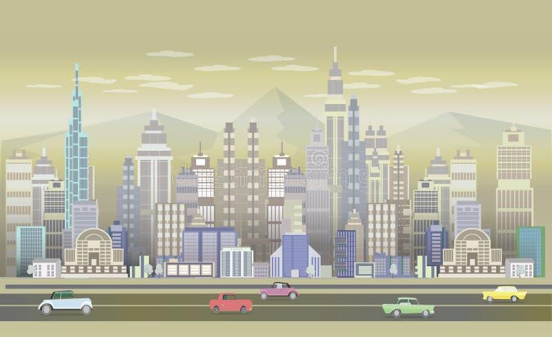 Fondos con los coches retros, 2.o uso del juego de la ciudad del juego stock de ilustración