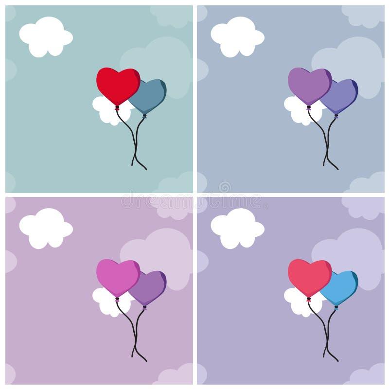Fondos con los globos y las nubes del corazón stock de ilustración