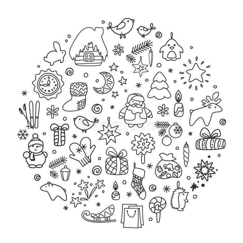 Fondos con los iconos - Año Nuevo, la Navidad, invierno ilustración del vector