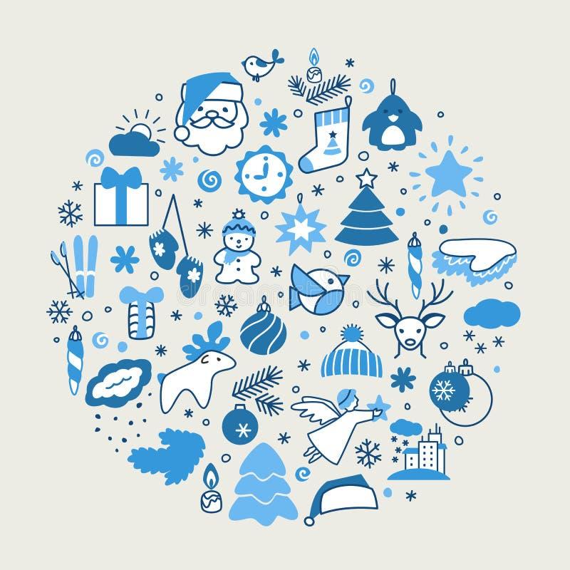 Fondos con los iconos - Año Nuevo, la Navidad, invierno libre illustration