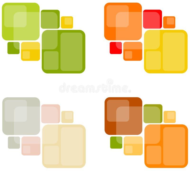 Fondos cuadrados retros abstractos ilustración del vector
