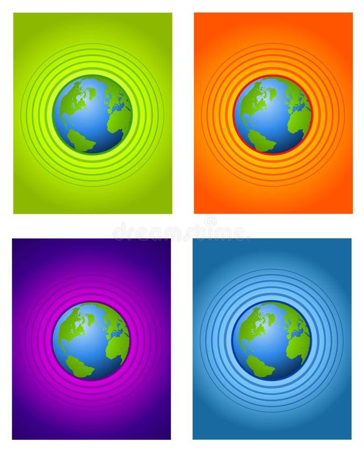 Fondos de centro radiales de la tierra stock de ilustración