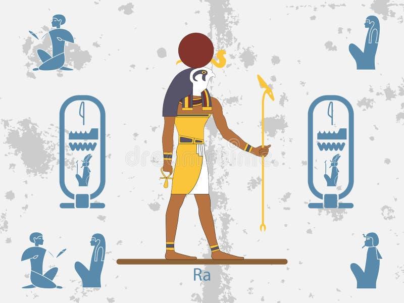 Fondos de Egipto antiguo Dios del sol - Ra Dios del sol de Egipto antiguo El Ra es la deidad egipcia antigua del sol ilustración del vector