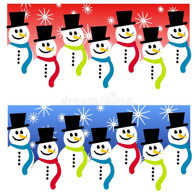 Fondos de la cabecera del muñeco de nieve ilustración del vector
