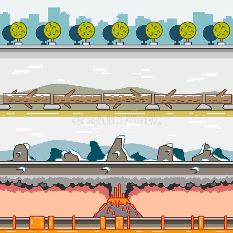 Fondos de la paralaje para el sistema 13 de los videojuegos ilustración del vector