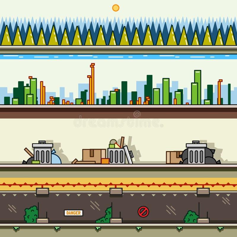 Fondos de la paralaje para el sistema 26 de los videojuegos ilustración del vector
