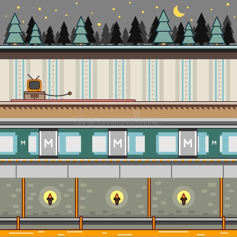 Fondos de la paralaje para el sistema 4 de los videojuegos libre illustration