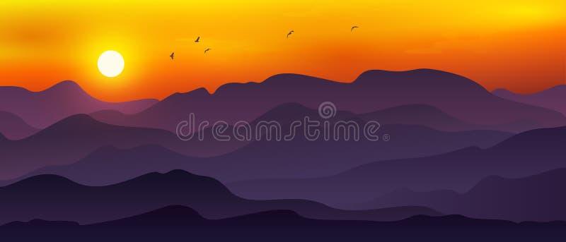 Fondos de montañas y de colinas abstractas con una mezcla de la púrpura de la naranja, amarilla y oscura Fondo panorámico con las ilustración del vector