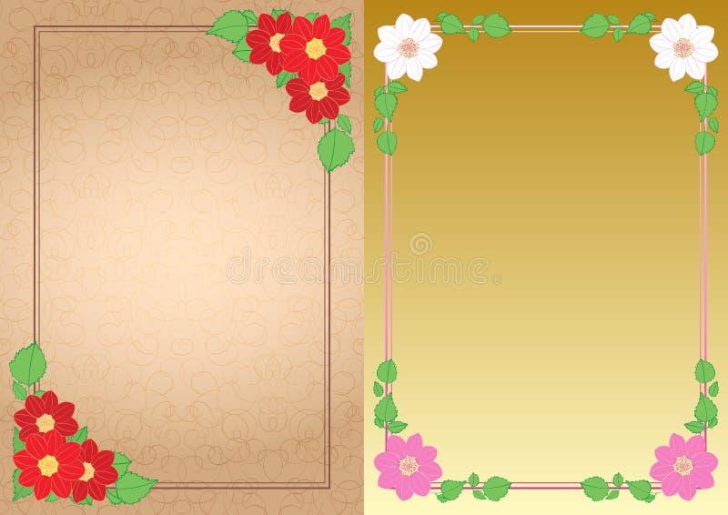 Fondos decorativos con las dalias de las flores en las esquinas - marcos verticales del vector stock de ilustración