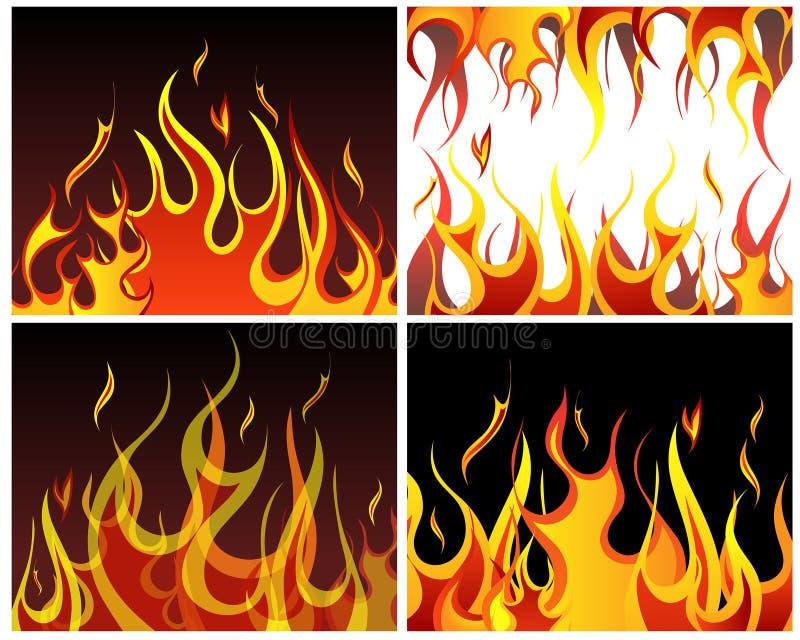Fondos del fuego fijados ilustración del vector