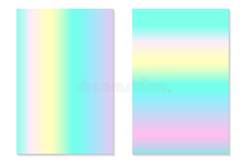 Fondos del holograma de la pendiente Fije de carteles olográficos coloridos en estilo retro Textura en colores pastel de neón vib stock de ilustración