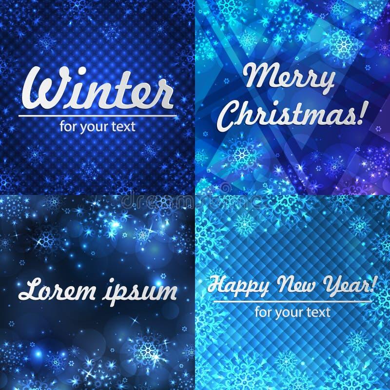Fondos del invierno fijados Marco del invierno con los copos de nieve Papá Noel en un trineo Fondo del Año Nuevo con el espacio p stock de ilustración