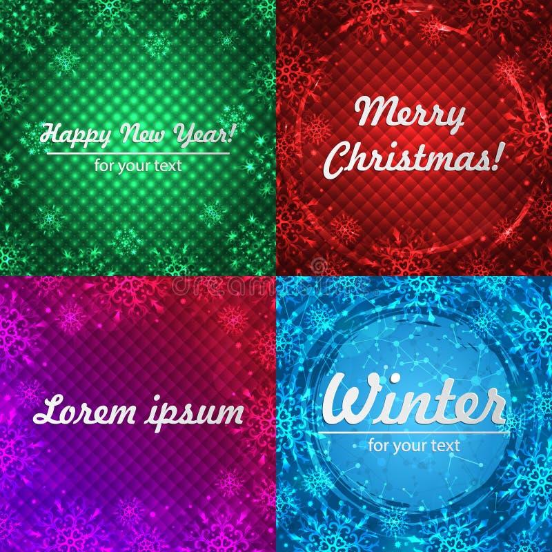 Fondos del invierno fijados Marco del invierno con los copos de nieve Papá Noel en un trineo Fondo del Año Nuevo con el espacio p libre illustration