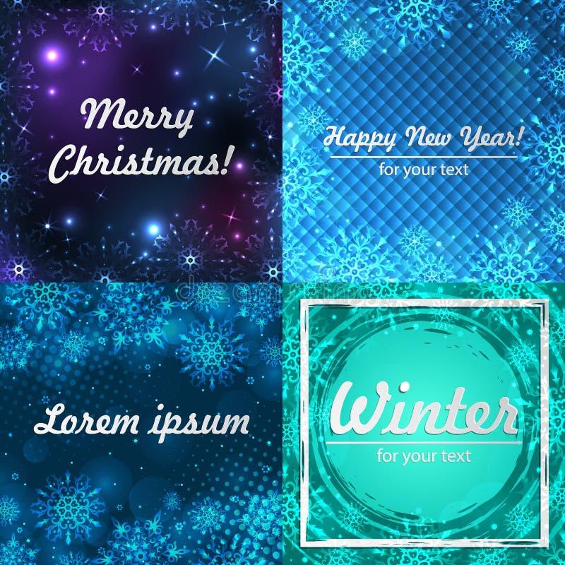 Fondos del invierno fijados Marco del invierno con los copos de nieve Papá Noel en un trineo Fondo del Año Nuevo con el espacio p ilustración del vector