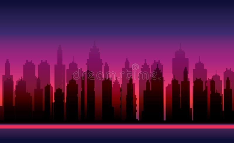 Fondos del juego Silueta del vector de la ciudad moderna stock de ilustración