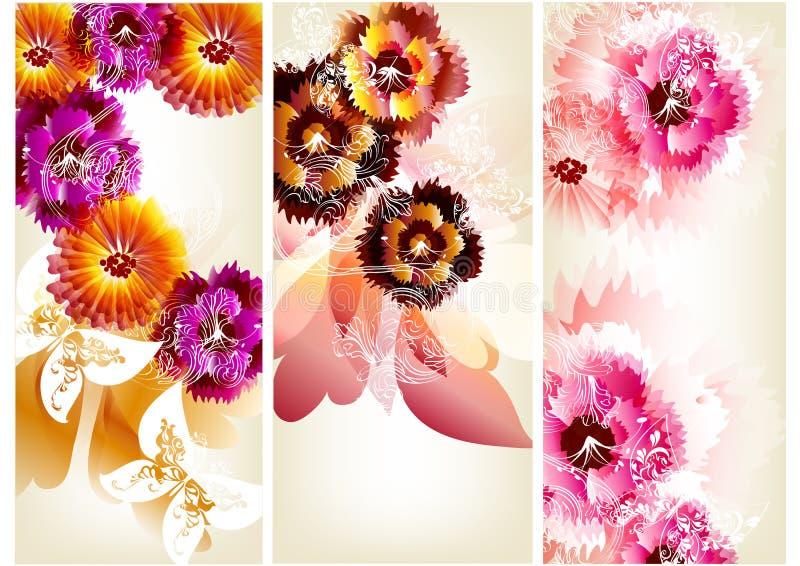 Fondos del vector de la flor fijados ilustración del vector