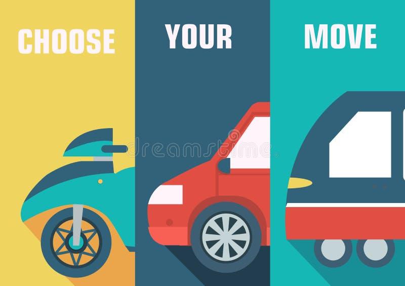 Fondos determinados del icono del concepto de los coches planos stock de ilustración