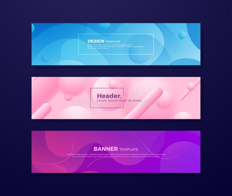 Fondos flúidos abstractos dinámicos con diversos conceptos y colores para sus elementos del diseño tales como banderas de la web, ilustración del vector