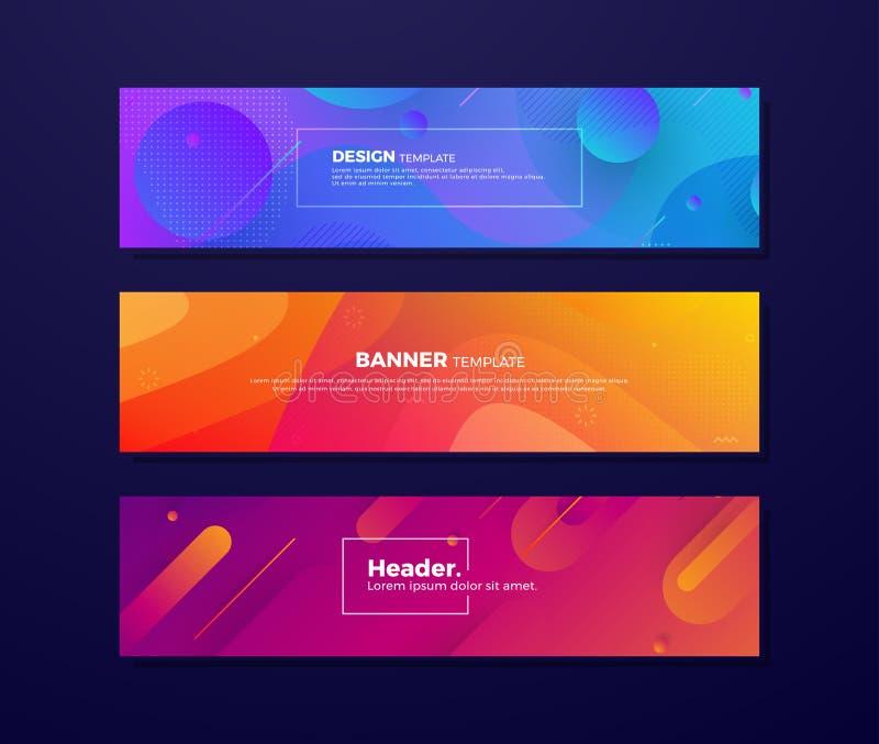Fondos flúidos abstractos dinámicos con diversos conceptos y colores para sus elementos del diseño tales como banderas de la web, stock de ilustración