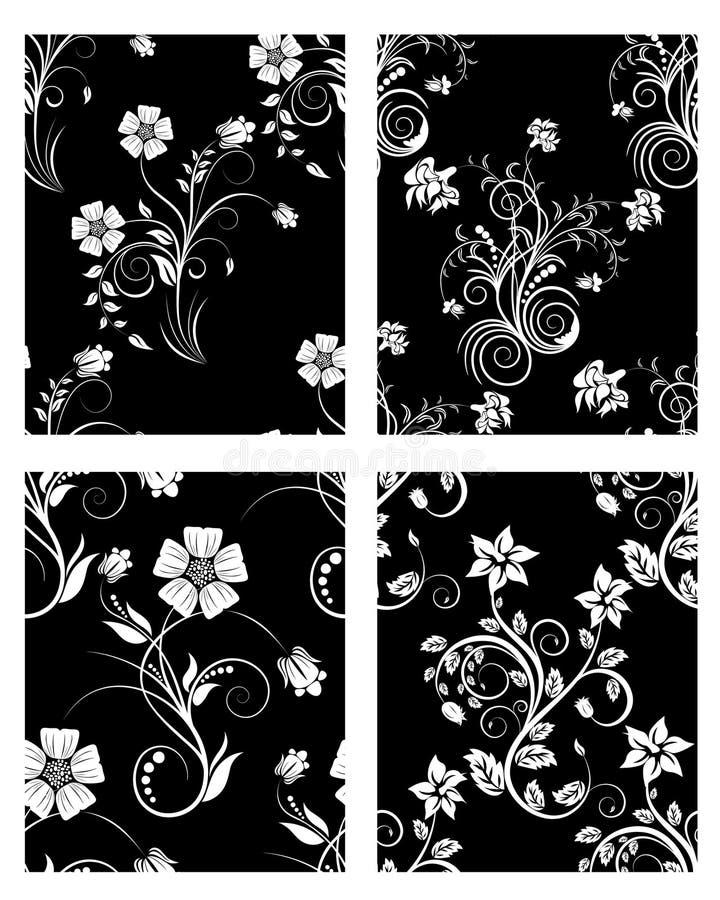 Fondos florales inconsútiles fijados ilustración del vector